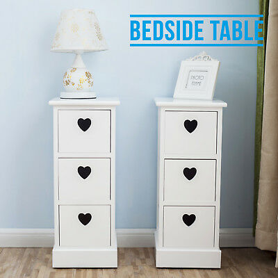 Pair of White Bedside Cabinets Heart Cutout Chest Side Tables Unit with 3 Drawer