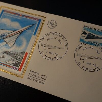 FRANCE STAMP CONCORDE PA N°43 LETTER SILK COVER 1st DAY FDC 1969