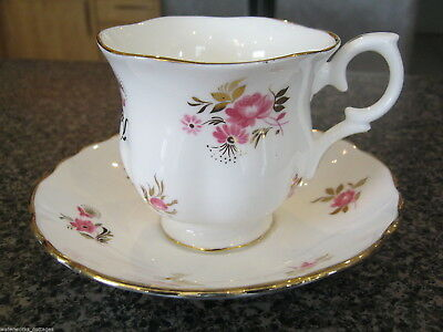 CROWN STAFFORDSHIRE TEACUP CUP SAUCER WHITE w/ PINK FLOWERS GOLD TRIM