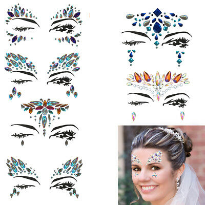 Body Adhesive Glitter Stickers Tattoo Face Gems Rhinestone Jewels Party Mermaid