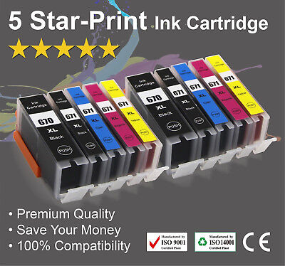 10 Ink Cartridges for Canon PGI-670XL CLI671XL PIXMA MG7766 TS5060 TS6060 TS8060