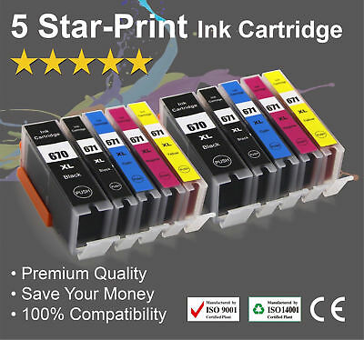 10 Ink Cartridges for Canon PGI-670XL CLI671XL PIXMA MG6865 MG7760 MG7765 TS9060