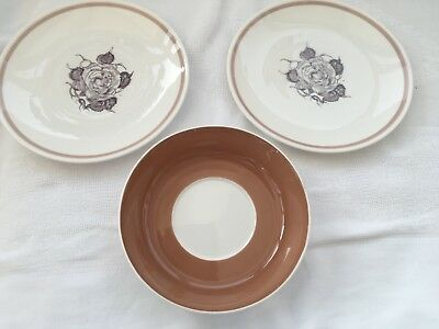 Vintage Susie Cooper Bone China 2 Tea Plates / 1 Saucer - Sepia Rose