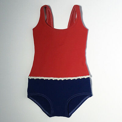 Vintage Retro Mod 60s Nautical Girls Swimsuit Swim Bathing 6 7 8 Yrs FREE SHIP