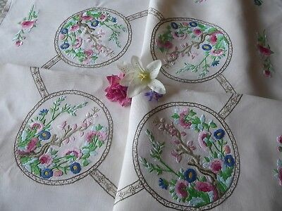 Vintage Hand Embroidered Linen Tablecloth= Beautiful Embroidery/indian Tree