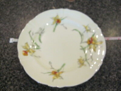 CROWN STAFFORDSHIRE BREAD BUTTER SIDE PLATE YELLOW DAFFODIL w/ GOLD TRIM a