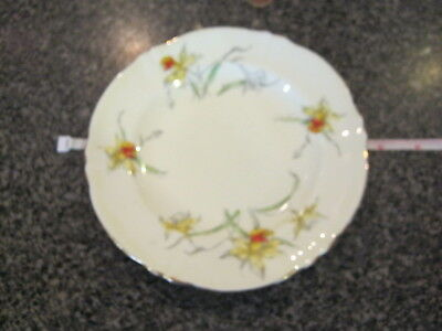 CROWN STAFFORDSHIRE BREAD BUTTER SIDE PLATE YELLOW DAFFODIL w/ GOLD TRIM d