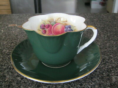 Crown Staffordshire Teacup Cup Saucer Deep Green Signed Ja Bailey Assorted Fruit