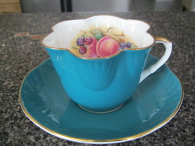 Crown Staffordshire Teacup Cup Saucer Teal Green Signed Ja Bailey Assorted Fruit