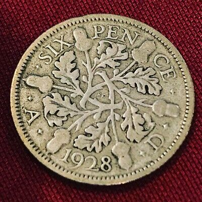1928 Great Britain 🇬🇧 Six Pence 50% Silver - Circulated - Free Shipping