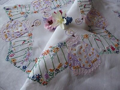 Vintage Hand Embroidered Tablecloth/ Exquisite Crinoline Ladies- Beautiful