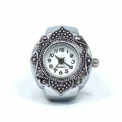 Creative Rhinestone Hot Silver Petal Flower Jewelry Watch Finger Ring Quartz