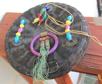 Antique Victorian Chinese Sewing Basket Peking Glass Handle Beads Coins Tassels