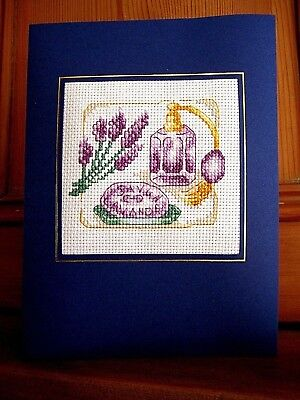 """Completed Cross Stitch Birthday Card 8"""" x 6"""" Lavender Perfume Soap Boudoire"""