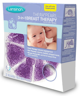 Lansinoh TheraPearl 3-in-1 Hot / Cold Breast Therapy 2 Pack Reusable Open 10200