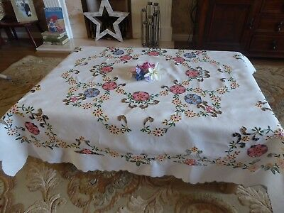 Exquisite Vintage Hand Embroidered  Linen Tablecloth= Madeira Cutwork Embroidery