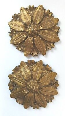 A pair of antique cast brass clock 50mm badges paterae decoration