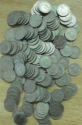 Job Lot of British Six Pence Pieces Dated 1947 to 1967 (150)