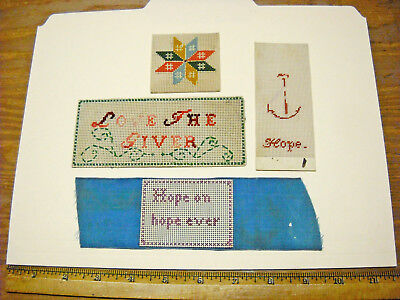 4 Antique Victorian Punch Paper Cross Stitch Needlepoint Sampler Bookmark Lot 32