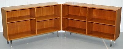 Pair Of Mid Century Modern Denmark Stamped Dwarf Open Bookcases With Chrome Legs
