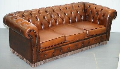 Original Vintage Hand Dyed Aged Brown Leather Chesterfield Sofabed Rare Find