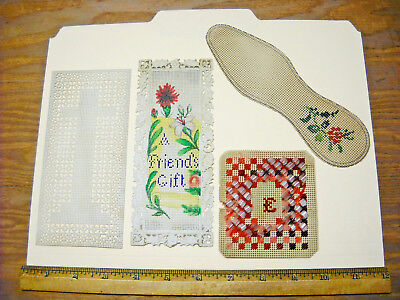 4 Antique Victorian Punch Paper Crossstitch Needlepoint Sampler GLASS BEAD Lot33