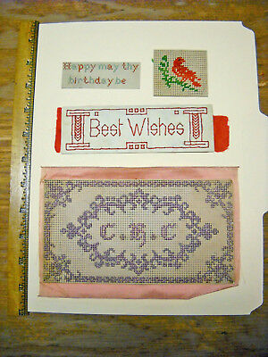 4 Antique Victorian Punch Paper Cross Stitch Needlepoint Sampler Bookmark Lot 34