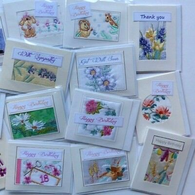 60 Embroidered Occasion Cards assorted Designs £22 - 37p each