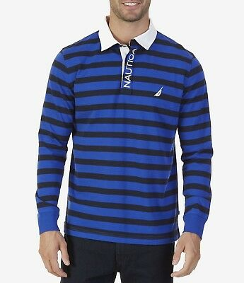 Nautica Men/'s Slim Fit Long Sleeve Rugby Polo Shirt Heritage Logo Navy K74932