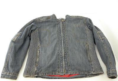 Womens Red Route Denim Motorbike Jacket Size 16 Armour Shoulders & Elbows