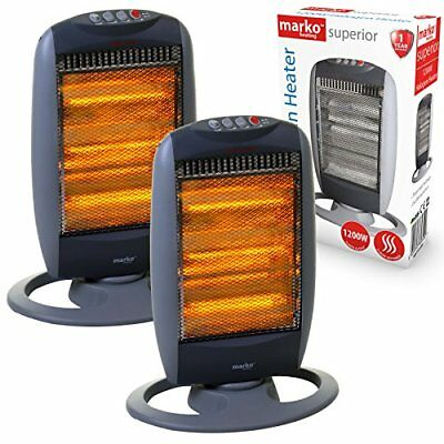 2x 1200W Portable Halogen Electric Heater 1.2kW Oscillating Home Office Instant