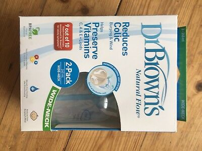 DR BROWN Natural Flow 2PK Wide Neck 240ml Baby Feeding Bottles Set *New*