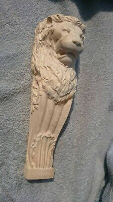 """Wooden Corbel/bracket Lion. Wall Fireplace decor.  Carved from wood. 9"""" Size"""