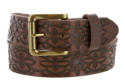 Embossed Thick & supple Full Grain Leather Belt - Antique Buckle - 30/32/34 Size
