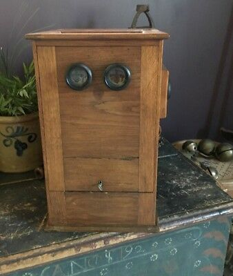 Antique Parlor Stereo Viewer Tabletop Machine Beautiful Wood Cabinet Coin Cards