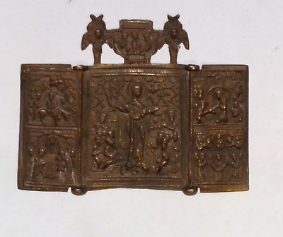 18th CENTURY RUSSIAN ORTHODOX BRASS ICON  SKLADEN - STAROVERY religion