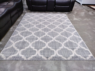 5x8 Grey Gray White Modern Contemporary Area Rug New Thick