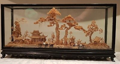 Large Old Chinese cork carving in black lacquered and glass case...  niiice!!!