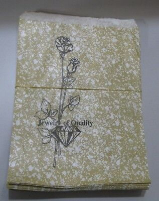 Lot of 75 LARGE 8-1/2 x 11 Merchandise Bags Gold Rose Printed Paper Jewelry Bags