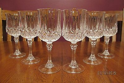 "Lovely Set Of 6 Vintage Cristal D'Arques 7 1/8"" Longchamp Crystal Water Goblets"