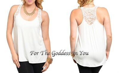 11e3f82cc7e H67 White Lace Trim Racer Back Hi Lo Hem Tank Top Womens Plus Size ~ 1X