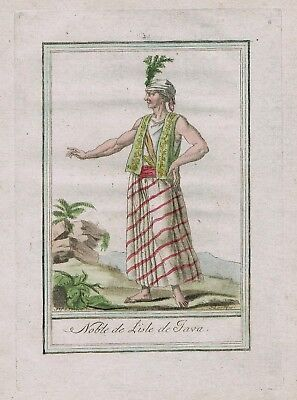 1780 - Java Indonesia island people costume engraving antique print Asia a 95229