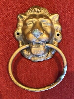 Antique Ornament Door Knocker Lion Head Handle Brass Home Decor Wall Statue Ring