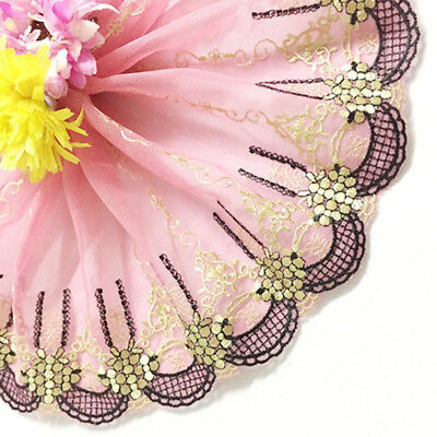 1 yd Floral Tulle Lace Trim Edge Embroidered Mesh Wedding Bridal Sewing Craft