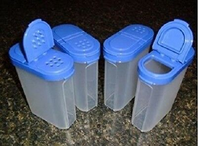 Tupperware Modular Mates Large Spice Containers Set (4) Blue Seals Brand New