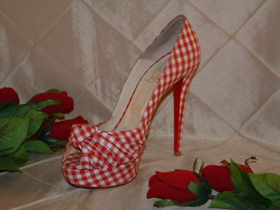 Christian Louboutin Gently Used Greissimo Gingham Open Toe 140 Pump Sz 39.5