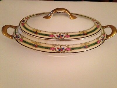 Victoria China Czechoslovakia Oval Serving Bowl with Cover, Floral Urn Pattern