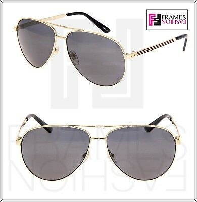 7daa44f694 GUCCI Aviator Sunglasses Stripe 0237 Metal Gold Grey Polarized 61mm GG0237