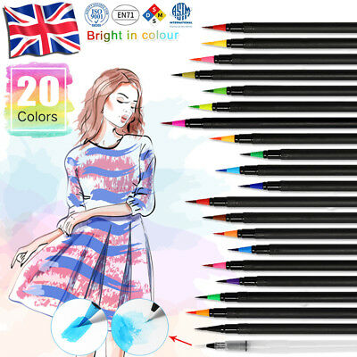 20pcs Colorful Water Brush Pen Set Children Print Pen as Gift to Kids