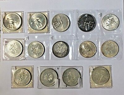 Lot of 14 Mexican Silver Coins 9.79 oz Total